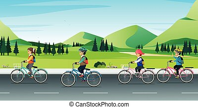 Children riding bicycles to school.
