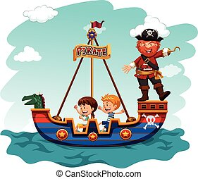 Children riding boat with pirate