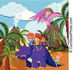 Children riding dinosaur in prehistoric scene