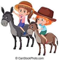 Children riding donkey on white background