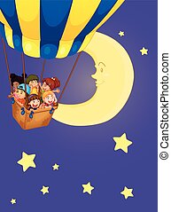 Children riding on balloon at night