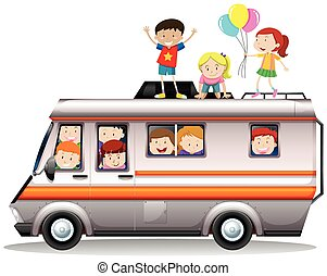 Children riding on camper van illustration
