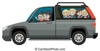 Children riding on pick-up truck illustration