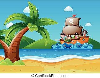 Children riding on pirate ship