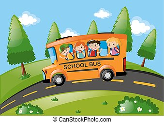 Children riding on school bus in the park