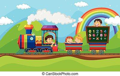 Children riding on train