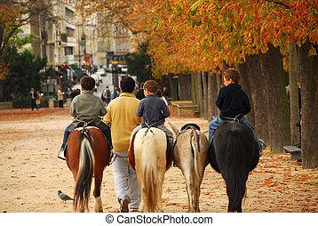 Children riding ponies in Jardins du Luxembourg (Luxembourg gardens) in Paris France