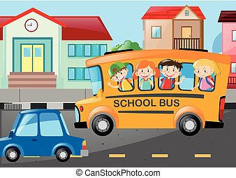 Children riding school bus on the road