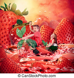 Children Riding Strawberry Fruit Landscape