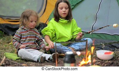 Children roasting marshmallows