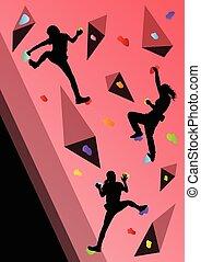 Children rock climber sport athletes climbing wall in...