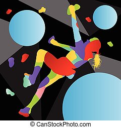 Children rock climber sport girl athletes climbing wall in abstract silhouettes background illustration
