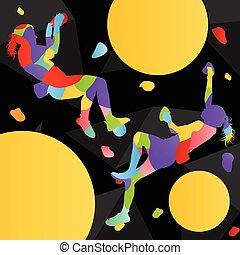 Children rock climber sport girl athletes climbing wall in...