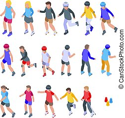 Children rollerblading icons set, isometric style