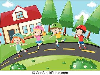 Children rollerskating in the neighborhood illustration