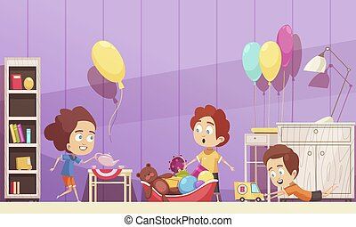Children Room Cartoon Illustration