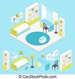 Children Room Composition In Isometric