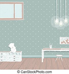 Children room dark with bulbs background design
