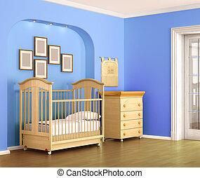 Children room in blue tones, for baby boy. 3d illustration