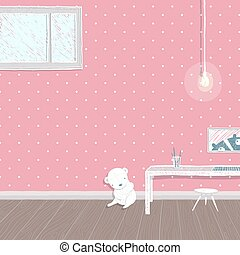 Children room pink background design