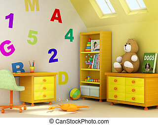 Children room - Picture of a girl, book covers, and design...
