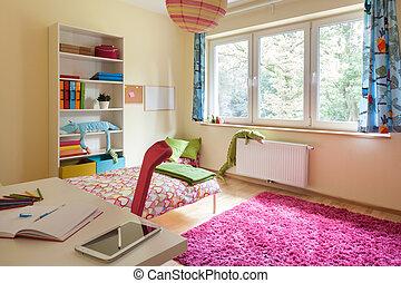Children room with big window