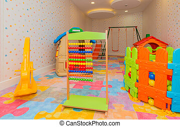 Children room with many toys