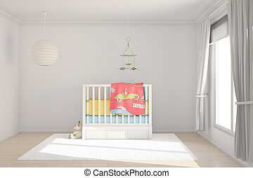 Children room with toys and small bed