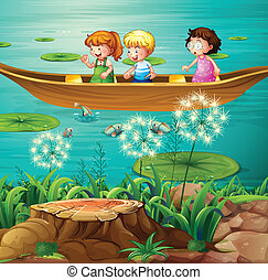 Children rowing boat in pond