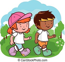 Children running at the park. Vector illustration