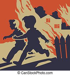 Children running away from fire flames
