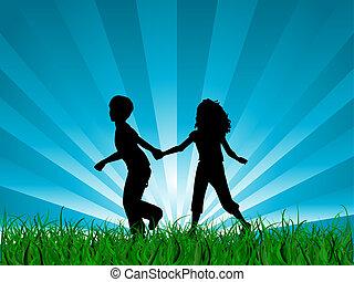 Children running - Silhouettes of children running in grass