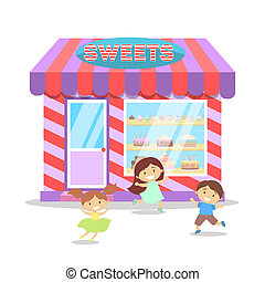 Children running in front of candy shop.