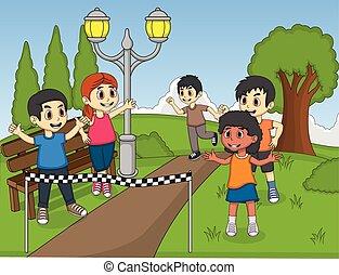Children running in park cartoon