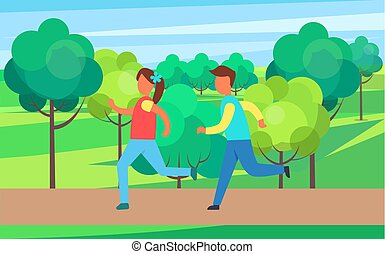 Children Running in Park Set, Vector Cartoon Icon