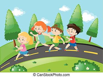 Children running on the road