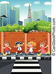 Children running on the sidewalk