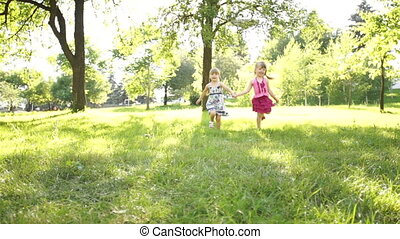 Children running to the camera