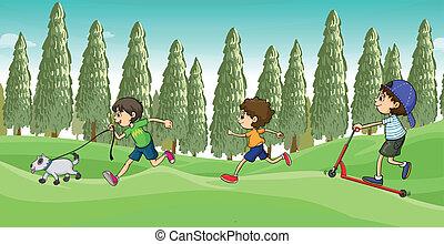 Children running with a dog