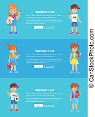 Children s Day Web Banner with Kids Holding Toys