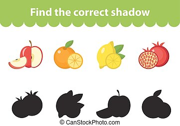 Children s educational game, find correct shadow silhouette. Vector illustration