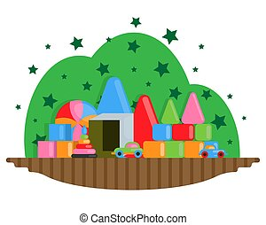 Children s room with a set of toys. Full color vector illustration.