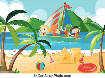 Children sailing in the sea