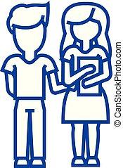 Children school, boy and girl with book line icon concept. Children school, boy and girl with book flat vector symbol, sign, outline illustration.