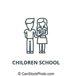 Children school, boy and girl with book line icon, vector. Children school, boy and girl with book outline sign, concept symbol, flat illustration