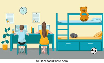 Children, schoolchildren, brother and sister, learn lessons, pass the remote test on a computer. Kids room with bed and toys. Vector illustration. Online home education concept, home education