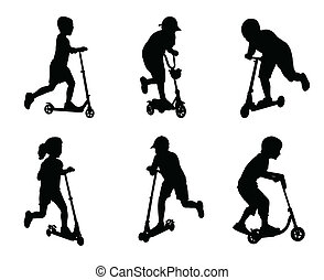children scooting silhouettes - vector
