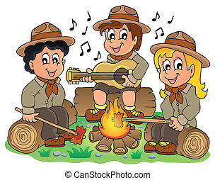 Children scouts theme image 1 - eps10 vector illustration.