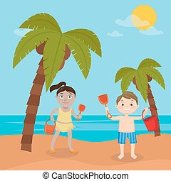 Children Sea Vacation. Girl and Boy Playing on the Beach. Vector illustration