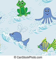 Children seamless pattern with aquatic animals